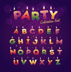 Happy Birthday alphabet. Vector illustration.