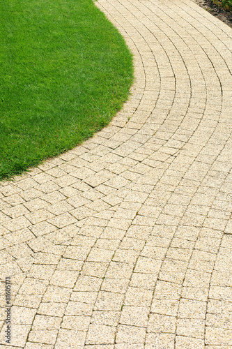 Papiers peints Jardin Beautiful lawn and path