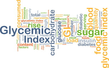 glycemic index feedback wordcloud concept illustration