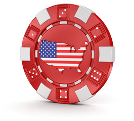 chip of casino with Map of USA (clipping path included)