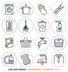 Vector collection of housework and cleaning symbols