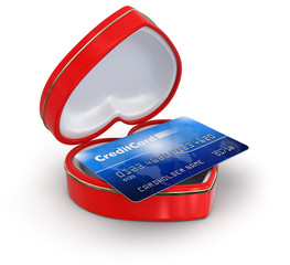 Credit Card in the heart box (clipping path included)