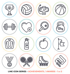 Vector collection of sports and fitness symbols
