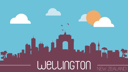 Welligton New Zealand skyline silhouette flat design vector