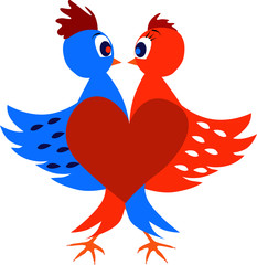 Vector illustrated two love birds create a heart.