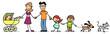 Leinwanddruck Bild - Kinder mit Familie und Baby und Haustier
