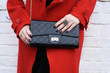 Fashionable woman with  stylish black clutch , accessories - 81606784