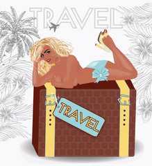 Summer travel sexy pin up girl, vector illustration