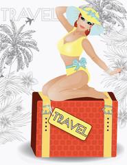 Summer travel beauty girl pinup, vector illustration
