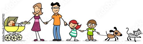 Leinwanddruck Bild Kinder mit Familie und Baby und Haustier