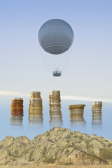 Gas Balloon, Stakes of Coins and Rocks