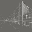 linear architectural sketch perspective street gray background - 81607190