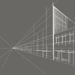 linear architectural sketch perspective street gray background