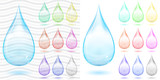 Set of multicolored transparent and opaque drops poster