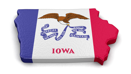 Map of Iowa state with flag