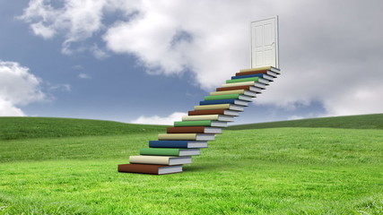 Stair made of books with an opening door