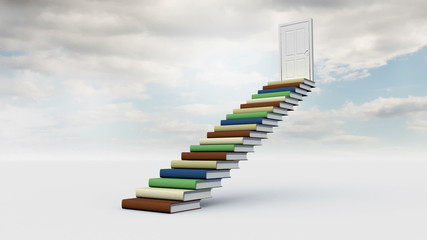 Stair made of books with an opening door in the cloudy sky