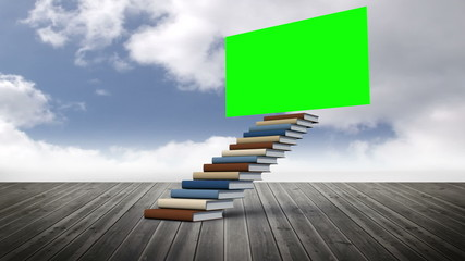 Green screen with stair made of books on a wood ground