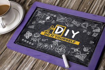 do it yourself concept hand drawing on blackboard