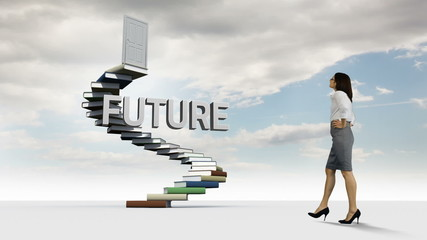 Businesswoman looking at steps made of books