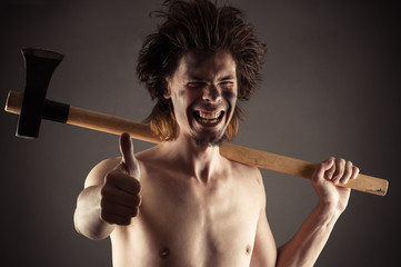 laughing man with an ax in hand