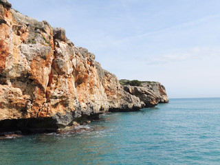Picturesque Red Rocks On The East Coast of Majorca Island