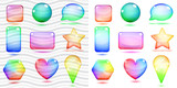 Transparent and opaque multicolored glass shapes with shadows poster