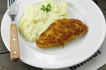 poisson pané et purée