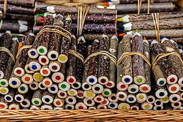 Handmade rustic colored pencils