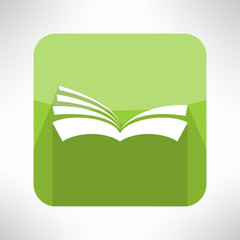 Green book icon. Notebook sign. Learning and ebook reader