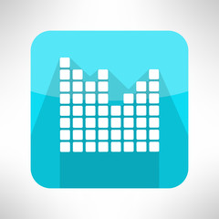 Musical equalizer icon in modern flat design. Sound symbol with