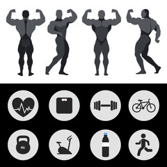 Athletes, sports icons, fitness, exercise. Vector illustration
