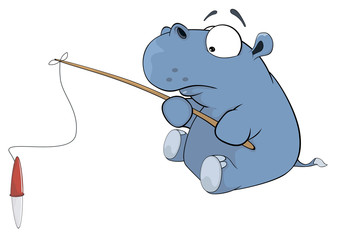 Little hippopotamus a fisherman. Cartoon