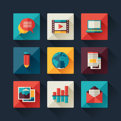 Set of blog icons in flat design style