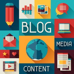 Media and communication concept illustration with blog icons
