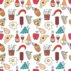 Food and drink vector seamless pattern.