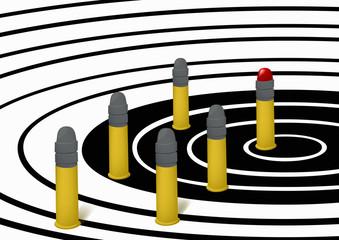 Cartridges on a target
