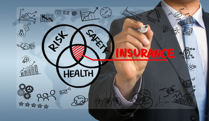 insurance concept hand drawing by businessman