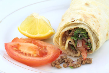 Traditional turkish kebap tantuni roll with lavash bread