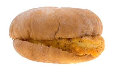Chicken Sandwich Side View On White Background