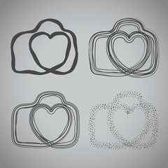 Vector: camera icon with heart-shaped. Doodle hand drawn sign in