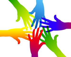 comunità, colori, mani, braccia, colorate