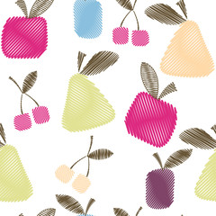 Seamless decorative pattern with fruits, bright spring or summer