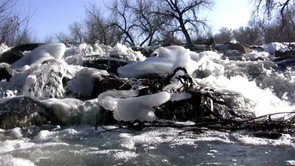 (Seamless Loop) Mountain Snowmelt Overflowing