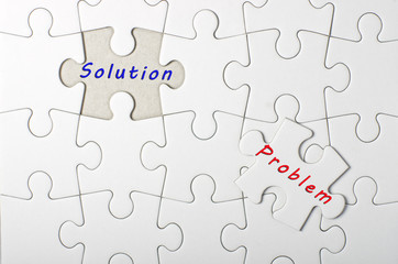 Solution, Problem written on white puzzle, jigsaw