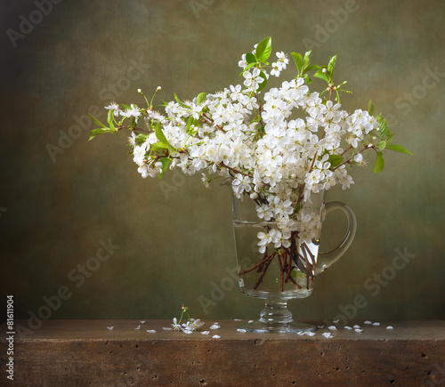 Aluminium Kersen Still life with bouquet of cherry blossoms in a glass jug