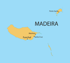 yellow map of Madeira Islands with indication of largest cities