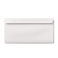Slightly, ajar opened DL envelope isolated on white background