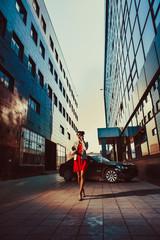 Beautiful young businesswoman near her car
