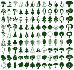Trees icons on white